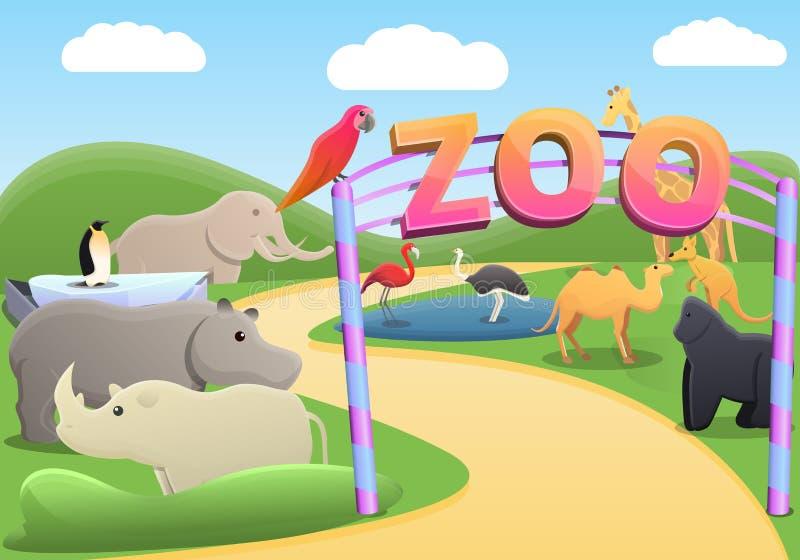 Parkera zoobegreppsbakgrund, tecknad filmstil vektor illustrationer