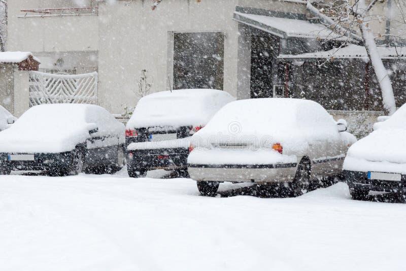 Parkerade bilar som täckas med insnöat vintern royaltyfria foton