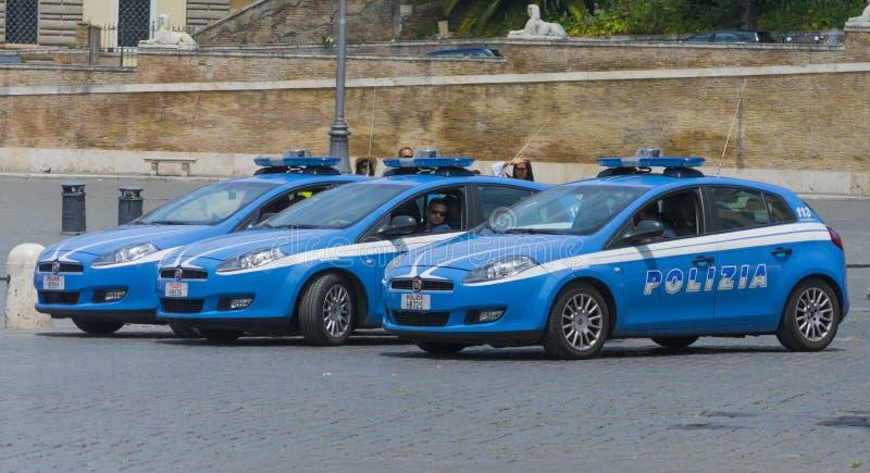 Parkerade polisbilar arkivfoto