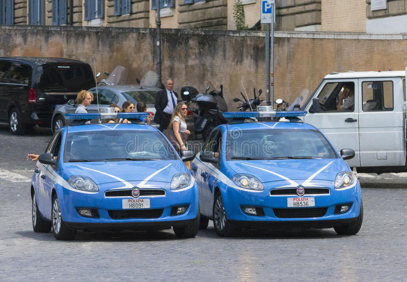 Parkerade polisbilar arkivbild