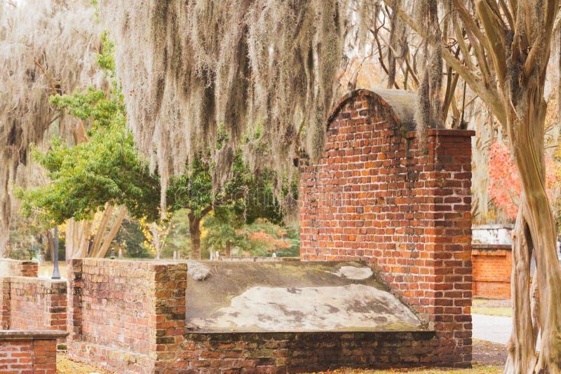 Parkerar den allvarliga koloniinvånaren för tegelsten kyrkogårdSavannahGUMMIN royaltyfri fotografi
