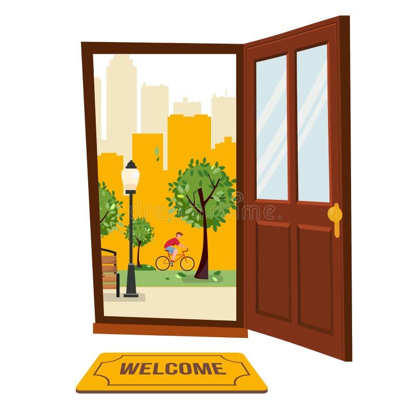 Parkerar den bruna dörren för trä med sikt av stads- landskap Utanför freen träd, skyskrapakonturer Varm sommarcityscape med bänk vektor illustrationer