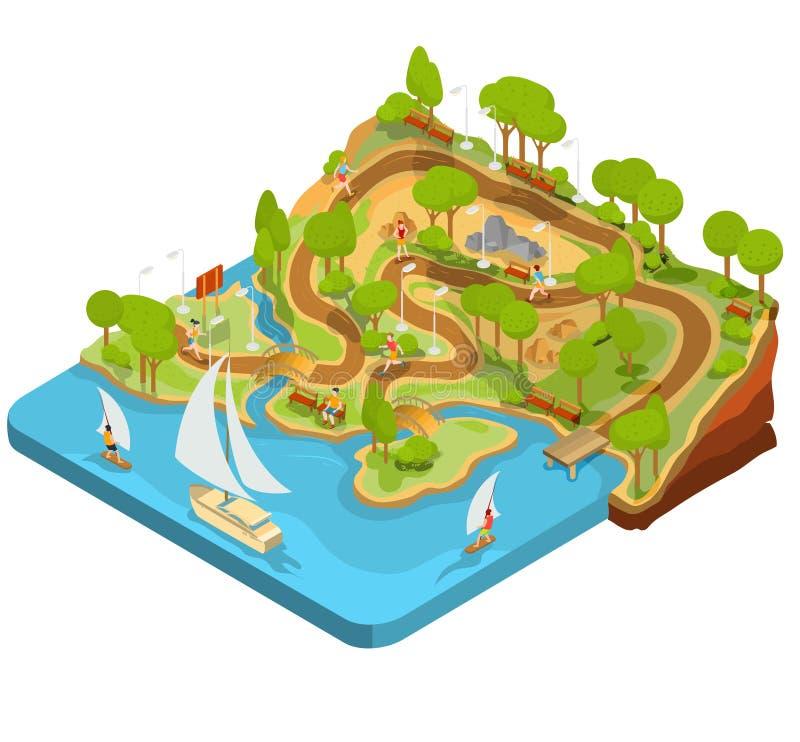 Parkerar den isometriska illustrationen för vektorn 3D av tvärsnittet av ett landskap med en flod, broar, bänkar och lyktor stock illustrationer