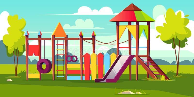 Parkerar den ljusa lekplatsen för vektorn för barn på stock illustrationer