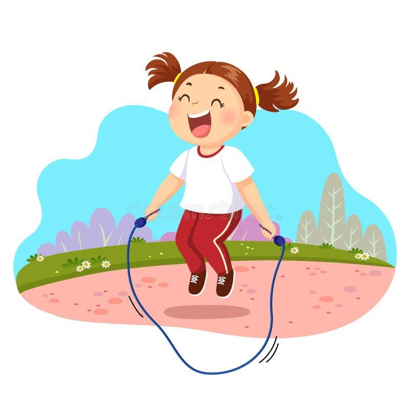 Parkerar det hoppa repet för den lyckliga lilla flickan i vektor illustrationer