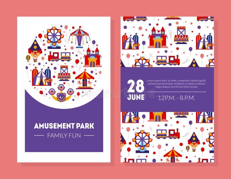Parkerar det roliga kortet för nöjesfältfamiljen, ganska affischmall för sommar med dekorativt dragningsvektorillustrationen stock illustrationer