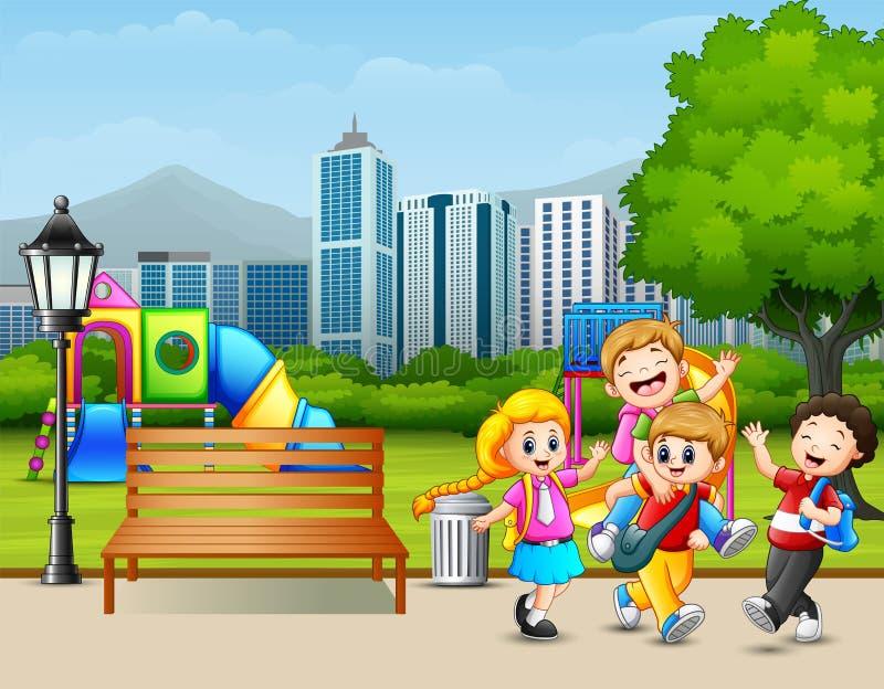 Parkerar lyckliga barn för tecknade filmen som spelar i staden stock illustrationer