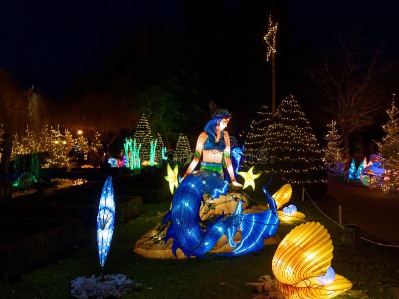Parkerar lysande skärm för sjöjungfrun in på jul vid natt royaltyfri foto