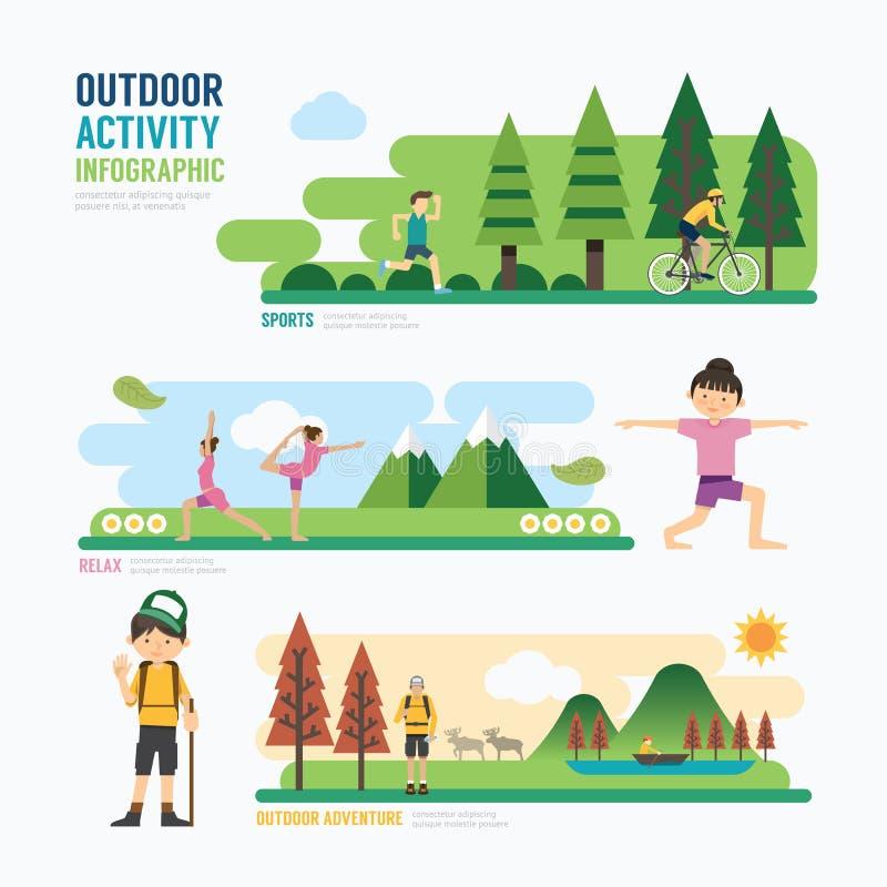 Parkerar och den utomhus- activityTemplatedesignen Infographic begrepp V royaltyfri illustrationer