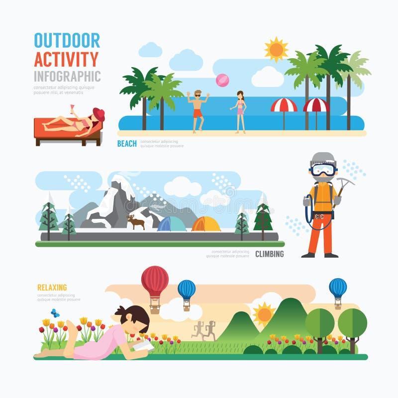 Parkerar och den utomhus- activityTemplatedesignen Infographic begrepp V stock illustrationer