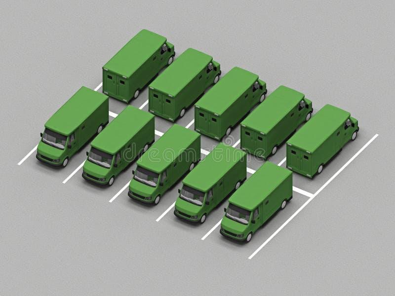 Parkering av lastbil stock illustrationer