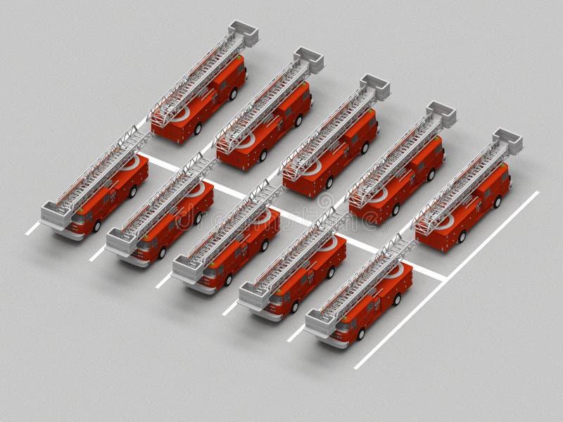 Parkering med brandbilar royaltyfri illustrationer