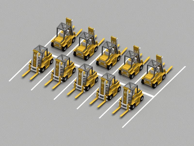 Parkering med gaffelvagnar vektor illustrationer