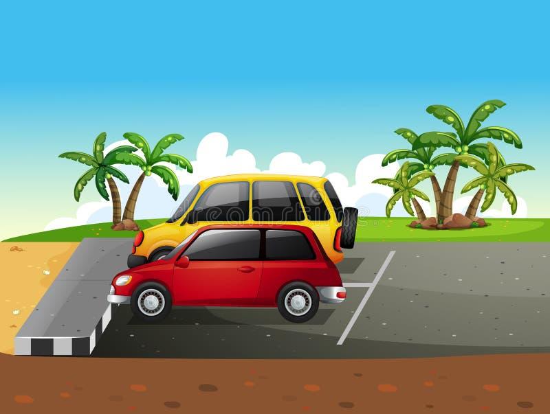 Parkeringsplats vektor illustrationer