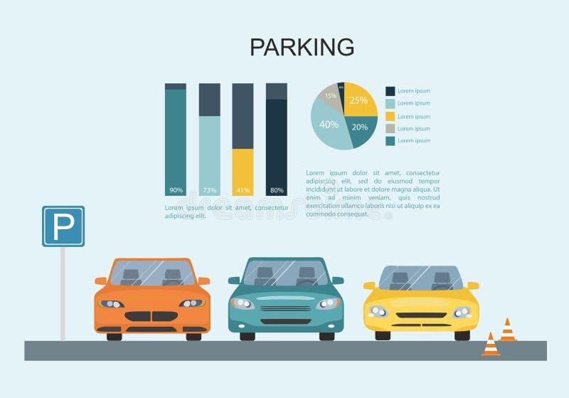 Parkeringsplats med en uppsättning av olika bilar Transporation Infographic stock illustrationer