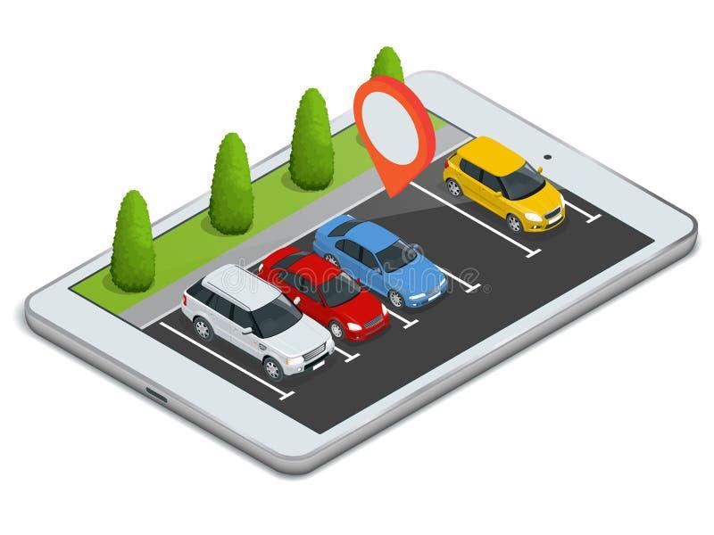 Parkeringsplats som visas på bärbara datorn Trådlös apparat med apparaten för locateröversiktsapp Plan isometrisk illustration 3d royaltyfri illustrationer