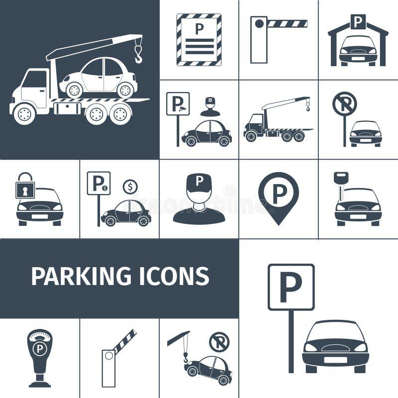 Parkeringsplatsuppsättning vektor illustrationer