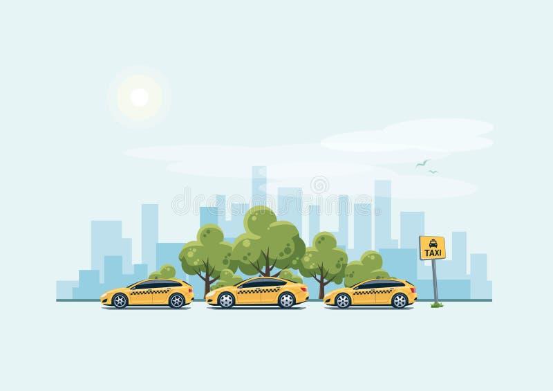 Parkeringstaxibilar och stadsbakgrund stock illustrationer
