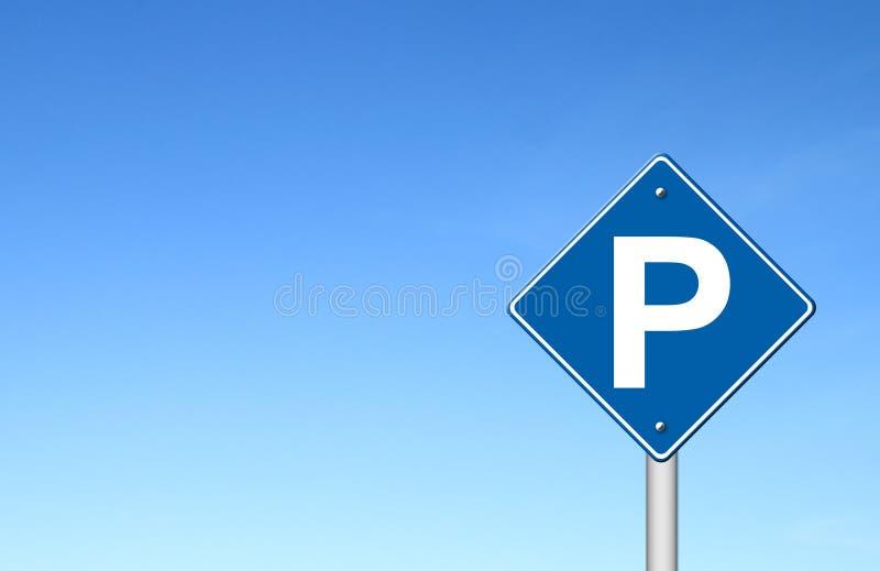 Parkeringstrafiktecken med den blåa skyen vektor illustrationer