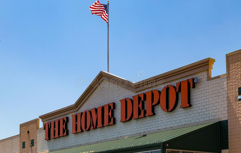 Home Depot Sign. Parkesburg, PA, USA - May 3, 2018: Home Depot is an American home improvement supplies retailer with over 2000 locations that sells tools royalty free stock images