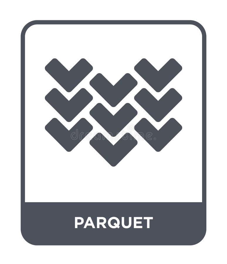 Parkettikone in der modischen Entwurfsart Parkettikone lokalisiert auf weißem Hintergrund einfaches und modernes flaches Symbol d stock abbildung