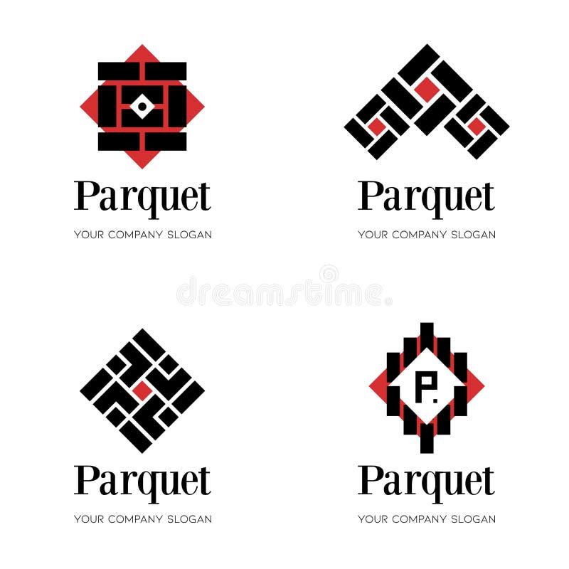 Parkettlogomall Durklogomall Abstrakta logodesignmallar för parkettföretag som däckar företaget vektor illustrationer