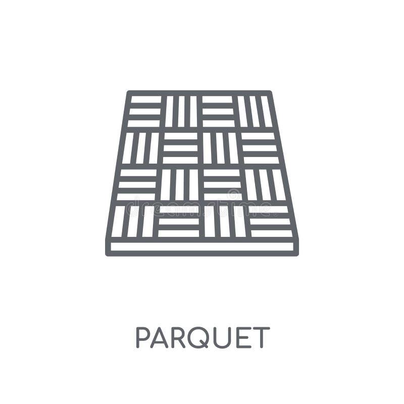 Parkietowa liniowa ikona Nowożytnego konturu logo Parkietowy pojęcie na whit royalty ilustracja