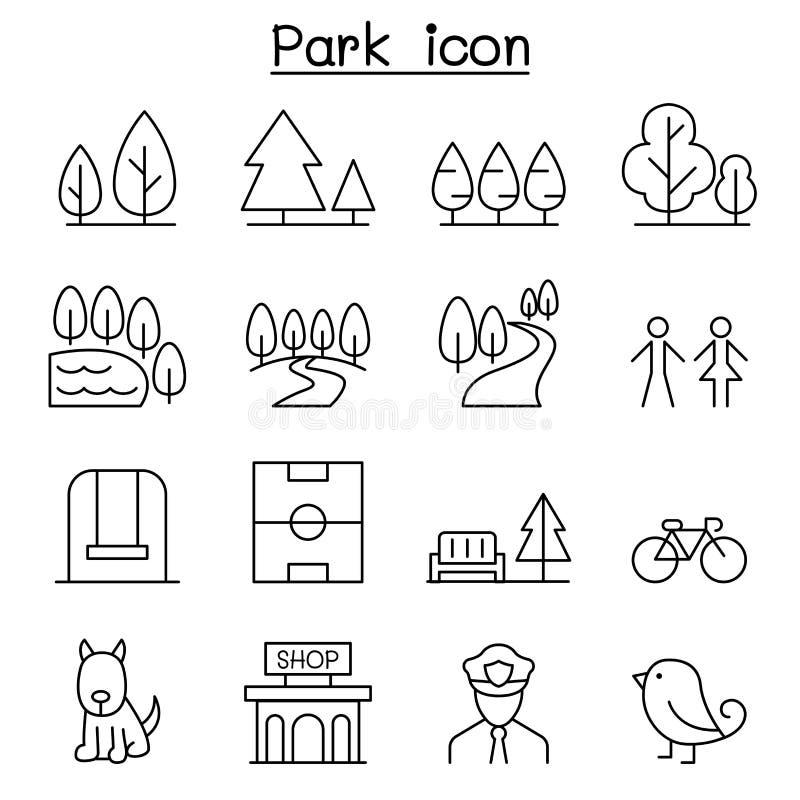 Parkikone eingestellt in dünne Linie Art vektor abbildung
