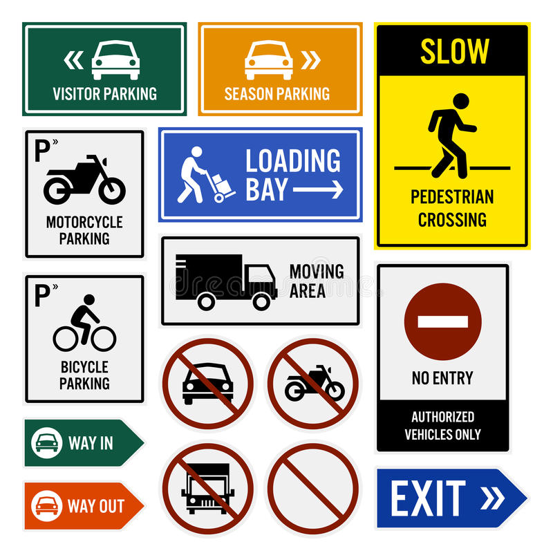 Parking Area Compound Signboards. A set of signboards for parking compound area. They are visitor and seasonal car parks, slow down for pedestrians, loading bay vector illustration