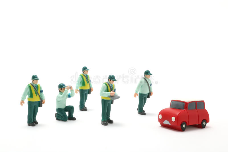Parking ban crackdown. Male police officers to crack down on car parking violation stock photography