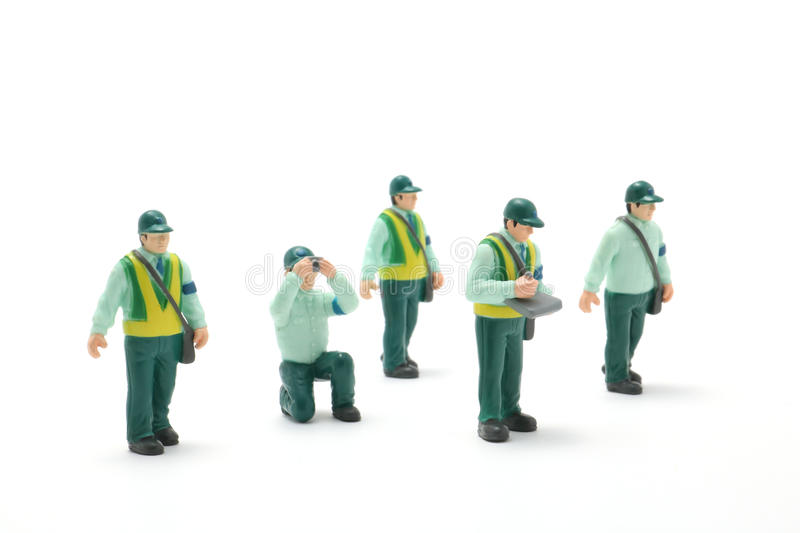 Parking ban crackdown. Male police officers on white background. Parking ban crackdown. These are mass produced product stock photo