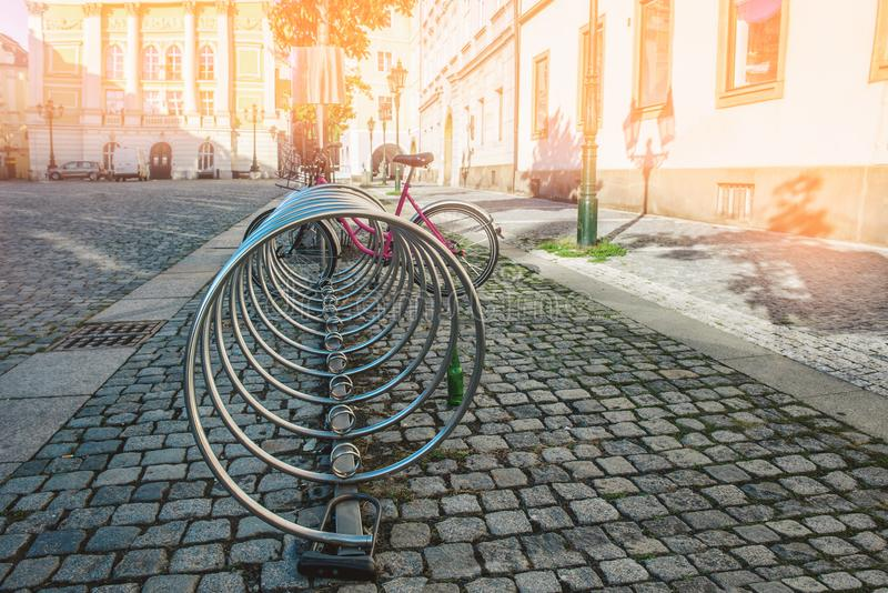 Parking and Bicycle rental in European cities. The concept of ecological movement and alternatives to cars royalty free stock photography