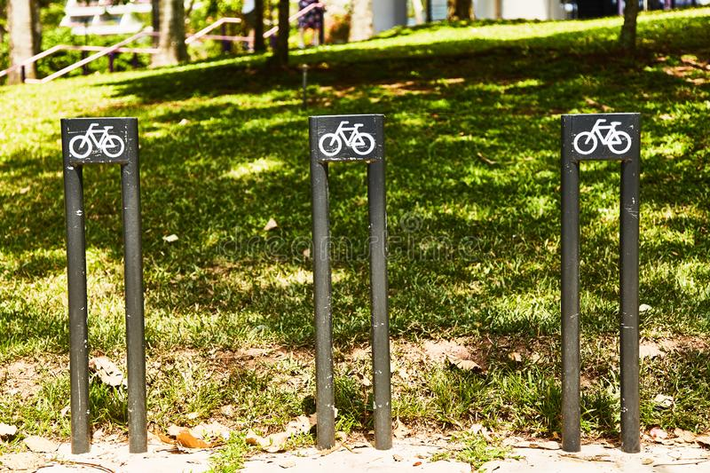 Parking for bicycles in the park royalty free stock photos