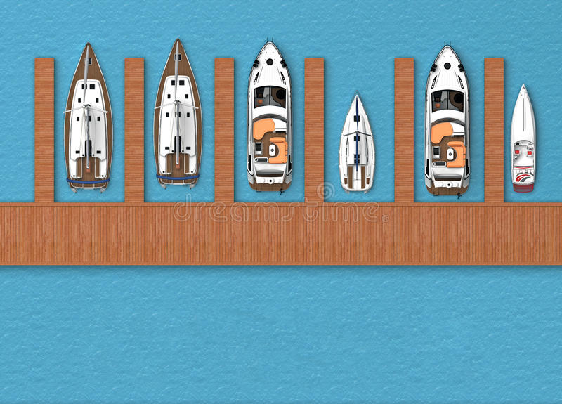 Parking for boats top view vector illustration