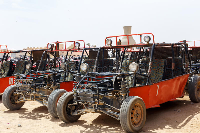 Parking of buggy. HURGHADA, EGYPT - MAY 18, 2015: Parking of buggy for tourists in Quad Runner Safari royalty free stock images