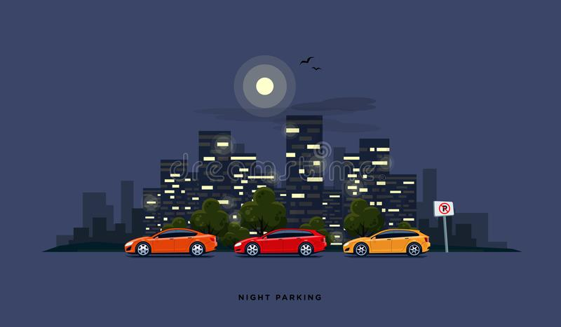 Parking Cars on the Street with Night City Skyline Background royalty free illustration