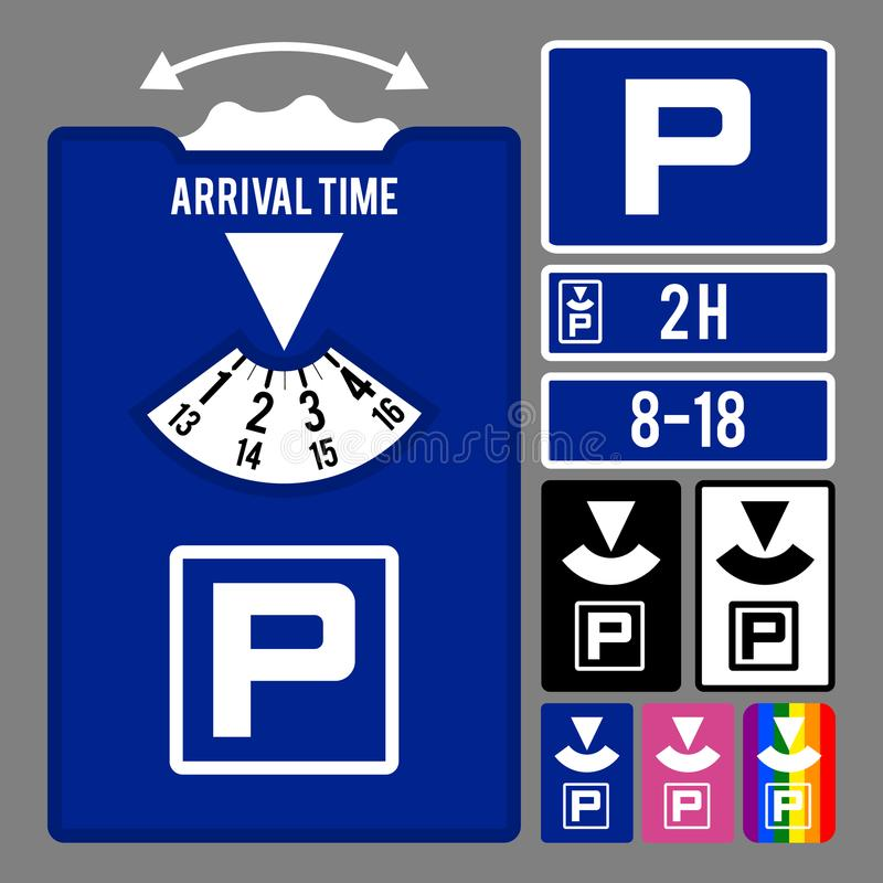 Parking clock icon. Vector set for parking time tracking royalty free illustration