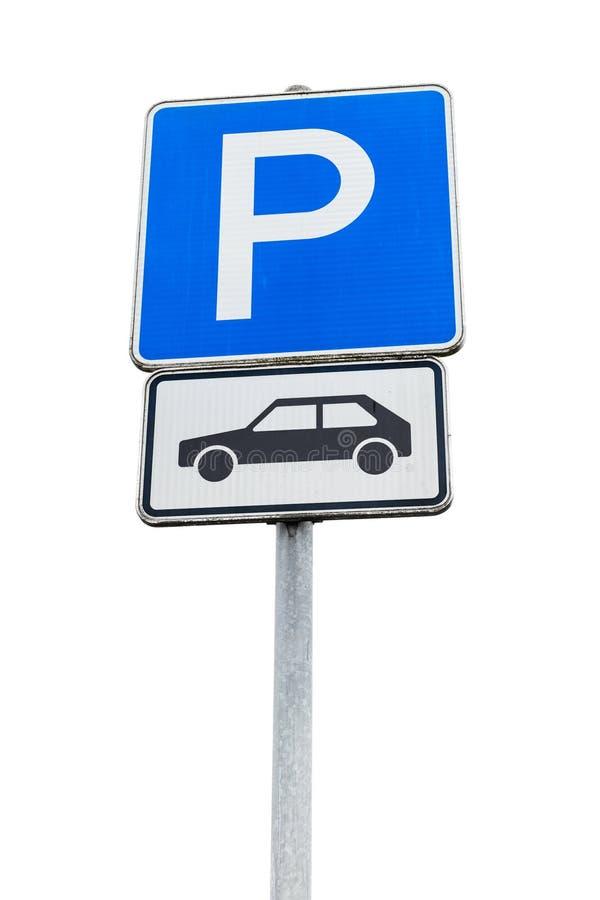 Parking drogowy znak odizolowywający na białym tle obrazy royalty free