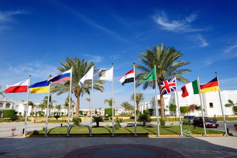 The parking with Egyptian, British, Italian, German, Ukrainian, Polish, Russian flags at luxury hotel royalty free stock photo