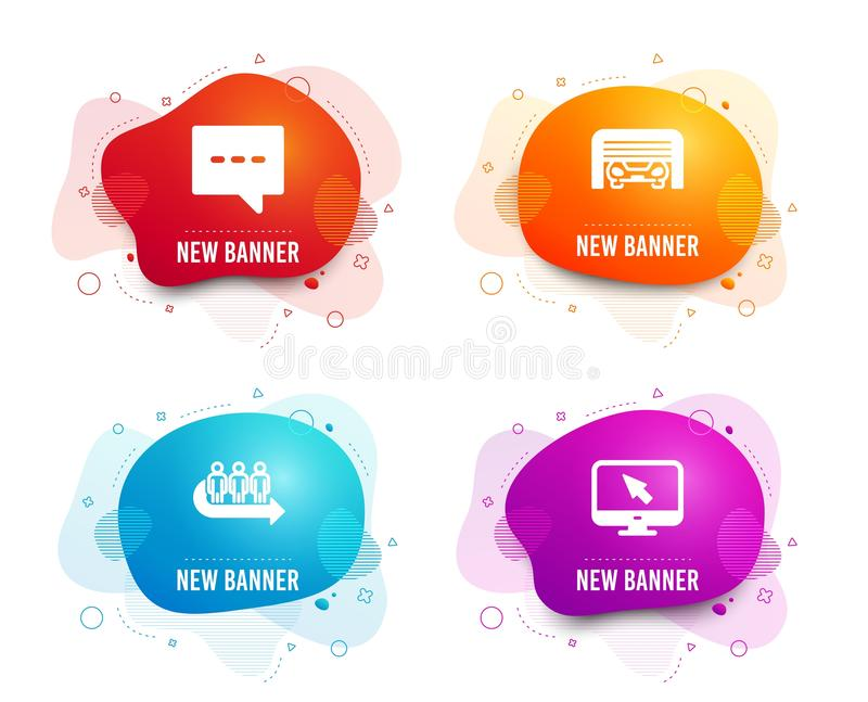 Parking garage, Blog and Queue icons. Internet sign. Automatic door, Chat message, People waiting. Vector. Liquid badges. Set of Parking garage, Blog and Queue royalty free illustration