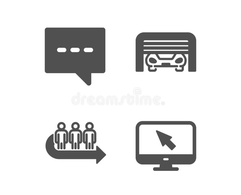 Parking garage, Blog and Queue icons. Internet sign. Automatic door, Chat message, People waiting. Vector. Set of Parking garage, Blog and Queue icons. Internet stock illustration