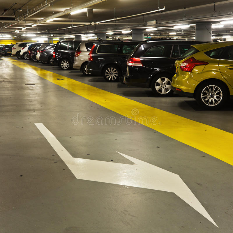 In the parking garage royalty free stock photography