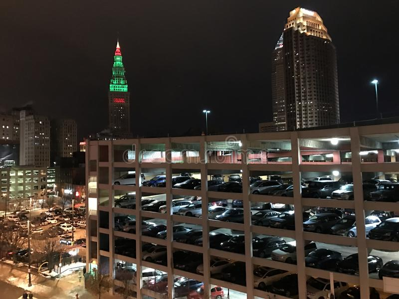 Parking garage at night, Cleveland, Ohio royalty free stock images