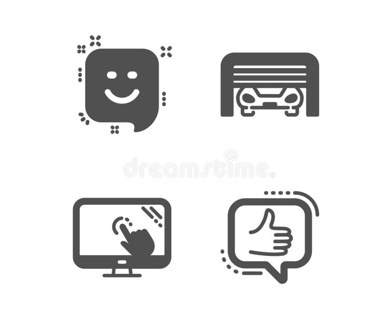 Parking garage, Smile and Touch screen icons. Like sign. Automatic door, Positive feedback, Web support. Vector royalty free illustration
