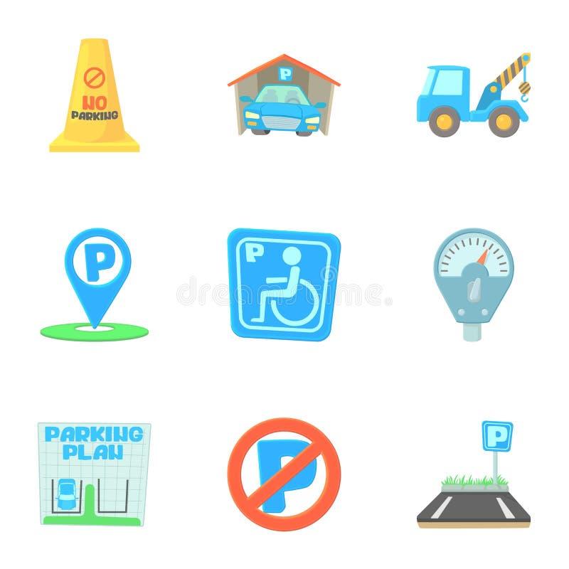 Parking ikony ustawiać, kreskówka styl royalty ilustracja