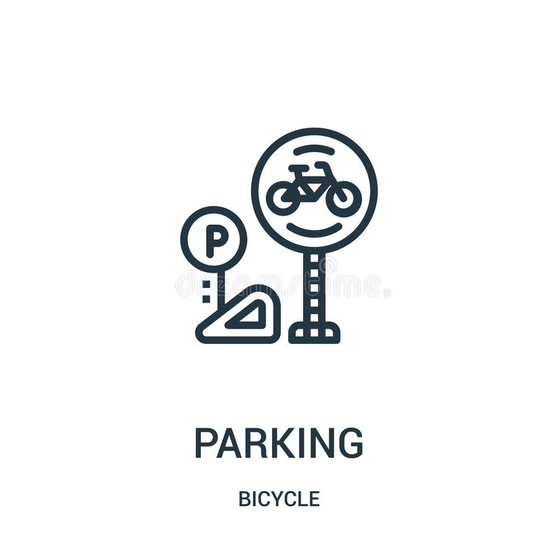 parking ikony wektor od rowerowej kolekcji Cienka kreskowa parking konturu ikony wektoru ilustracja Liniowy symbol dla używa na s ilustracji