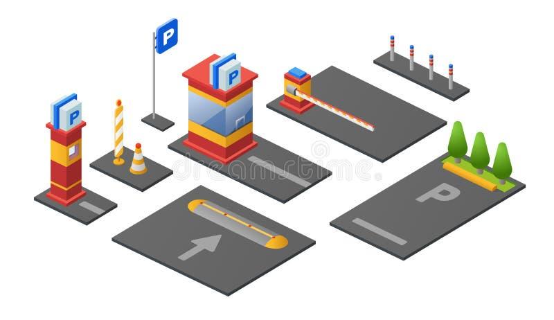 Parking isometric 3D wektorowa ilustracja punktu kontrolnego parkomat samochodu i bariery udziały z kierunków znakami royalty ilustracja