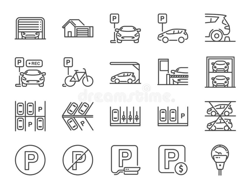 Parking line icon set. Included icons as Garage, Valet servant, Paid parking, recorder, lift, security camera and more. royalty free illustration