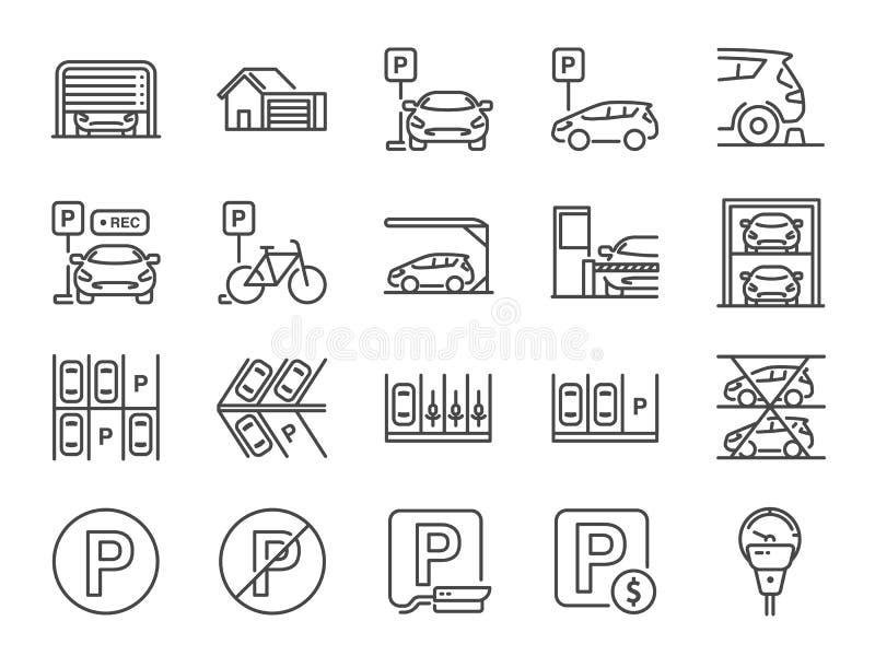 Parking linii ikony set Zawierać ikony jako garaż, lokaja sługa, Opłacony parking, pisak, dźwignięcie, kamera bezpieczeństwa i ba royalty ilustracja