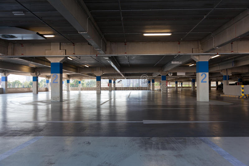 Parking lot. Empty floor of multistory parking lot stock images